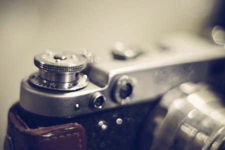 Background with the old vintage analog film camera