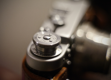 Part of the old vintage analog film camera close up.