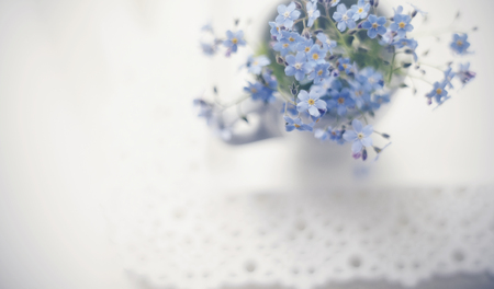 Bouquet of blue forget-me-nots in a white cup on a lacy tray, the top view. Stockfoto