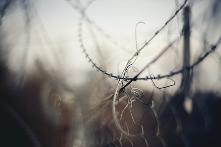 Abstract blurred background with coils of barbed wire. 免版税图像