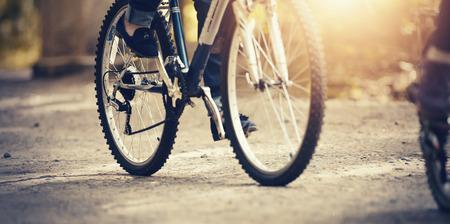 Sports bike wheels. Outdoor activity. Sports bike ride in the Park.