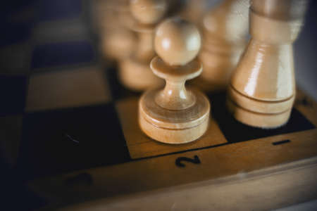 White's pieces on the chessboard, top view. Wooden chess pieces on the chessboard. Intellectual game -chess. Chess pieces on the Board. A game of chess.