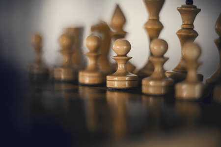 White's pieces on the chessboard. Wooden chess pieces on the chessboard. Intellectual game -chess. Chess pieces on the Board. A game of chess.