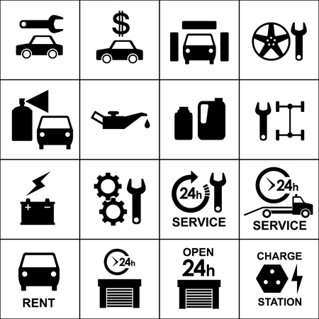 Auto service and repair icons black outlined