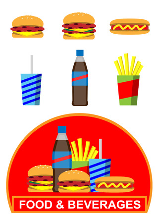 continental food: Fast food  drinks icons and banner. Illustration