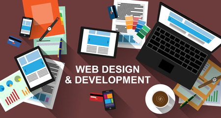 digital design: Flat designed banner for web development with long shadows.