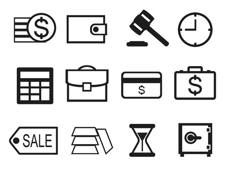stockmarket chart: Finance and Money icons set. Black outlined. Illustration