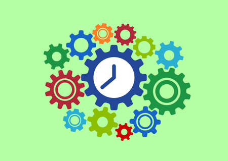 watch groups: Clock in gears abstract concept colorful