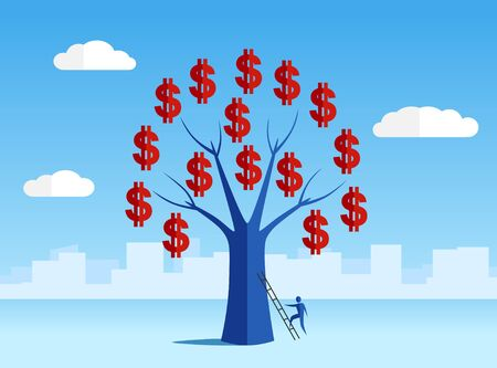 lucky man: Money tree with human standing on ladder