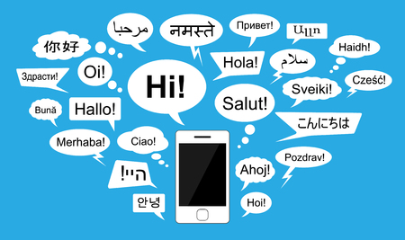 bonjour: Introducing words in 24 languages with chat bubbles