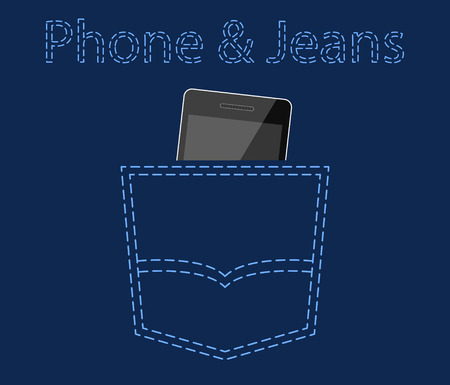 jeans pocket: Mobile phone in jeans pocket, advertising concept vector