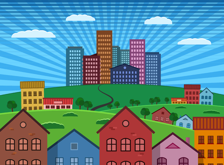 suburb: Suburb and City on Green Hill flat design illustration with solid fills and vivid colors. Vector EPS 10.