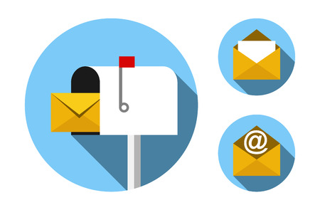 buzon: Buzón de correo y sobres de correo conjunto de iconos diseño plano. 10 EPS formato. No hay transparencia. No degradados. Vectores