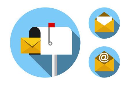 icona di cassetta postale e posta busta scenografia piatta. EPS formato 10. Senza trasparenza. Non gradienti.