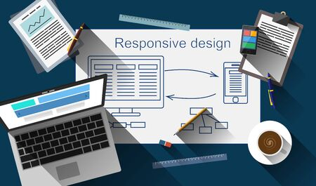 webmaster: Responsive web design creating process vector. EPS 10 file.
