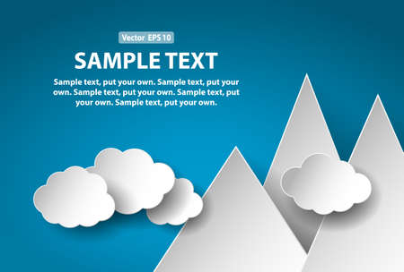 adverts: Stylized paper cut mountains and clouds, abstract concept for business or education. All layers available. Put your own text. Vector EPS 10 format. Illustration