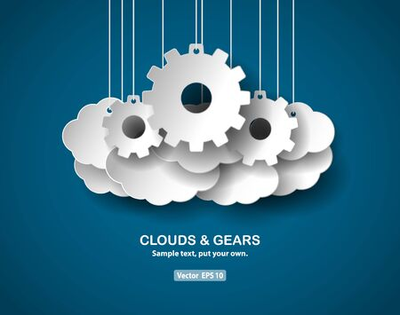 papercut: Clouds and gears, abstract concept, paper-cut style. Vector EPS 10 file. Illustration