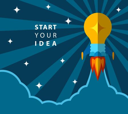 removable: Start your idea, creative poster with light bulb transformed into rocket. Rocket flying to the space. Vector EPS 10. Removable text, put your own if needed. Illustration