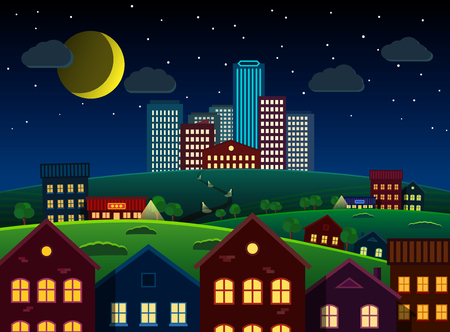 suburbs: Big city and suburbs at night. Bright and high-contrast illustration. All objects selectable. Vector EPS 10 file.