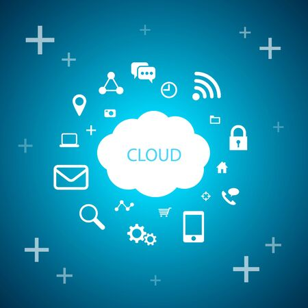 cloud technology: Cloud computing technology, cloud and internet symbols