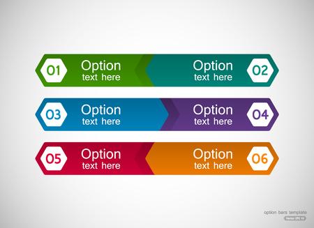 optional: Six menu bars template with optional text