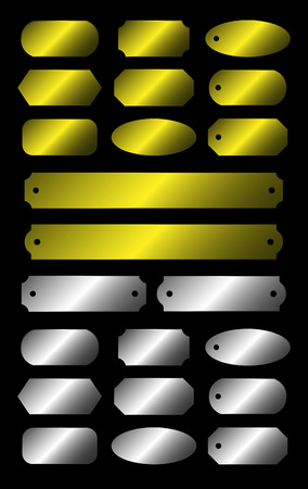 plate set: Gold and silver plate set isolated on black background Illustration