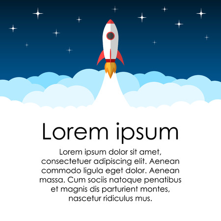 advert: Document or advert poster background. Science or education. Rocket in space. Illustration