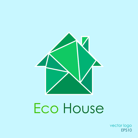 eco home: Green eco home concept. Low poly style
