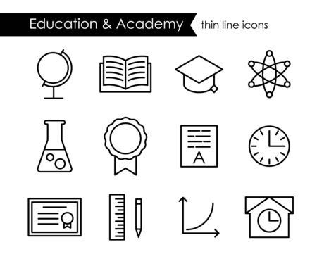 academy: Education and academy thin line icons, adjustable stroke