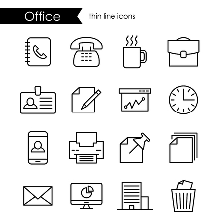 corporations: Office thin line icon set, company and corporations, black outline Illustration