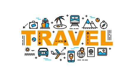 Travel thin line flat style banner, tourism and vacation concept