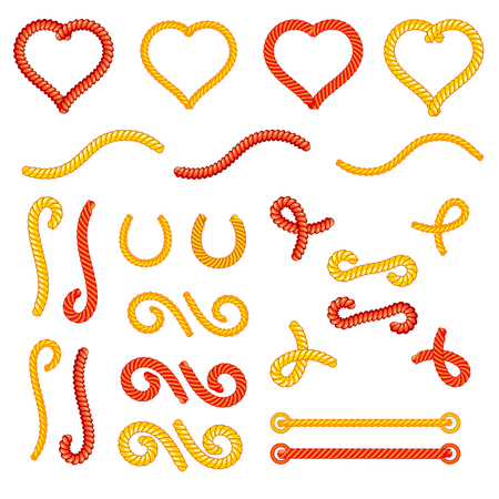 loops: Rope knots collection set, random shapes, loops, decorative elements Illustration
