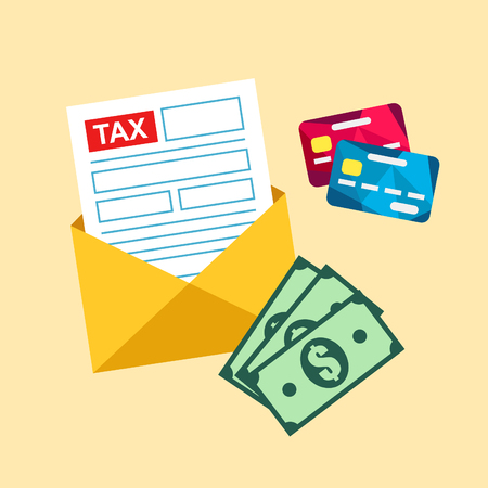 tax form: Tax paying illustration. Tax form by mail. Annual income calculation.