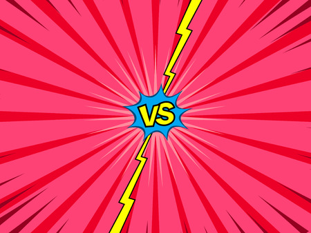 Comic book versus template, vintage magazine page style, battle intro