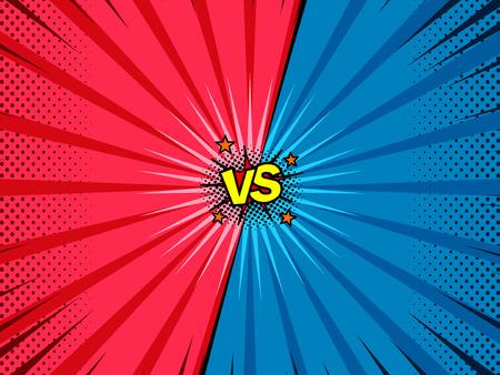 Comic book versus template background, vintage magazine page style, battle intro Illustration