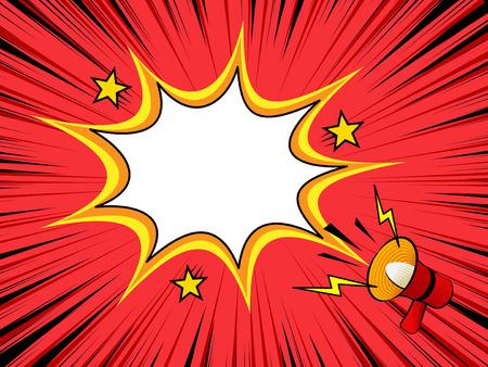 漫画の背景にメガホン発表、空白のダイアログ ウィンドウ、音声バブル テンプレート、古いビンテージ雑誌スタイル  イラスト・ベクター素材