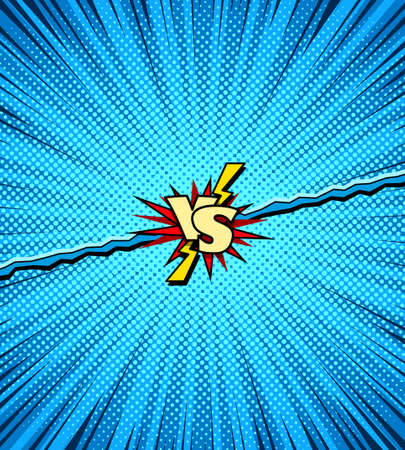 Comic book versus background, two heroes battle action intro, halftone texture