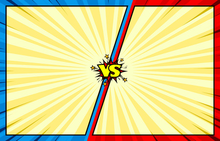 バック グラウンド対古典的な漫画本、2 つの英雄の戦いアクション イントロ、きれいなビンテージ スタイル
