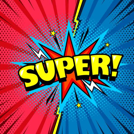 Superhero speech bubble, joyful expression, comic book style 向量圖像