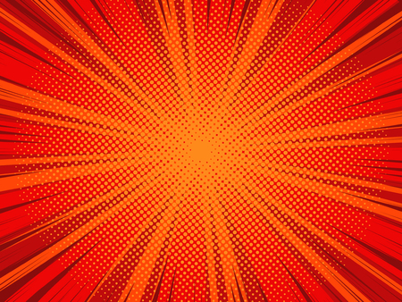 Comic book cartoon background with halftone texture, red color