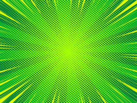 Comic book cartoon background with halftone texture, green color