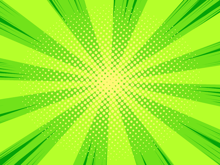 Comic book cartoon background with halftone pattern, green color