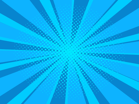 Comic book cartoon background with halftone texture, blue and light blue color 矢量图像