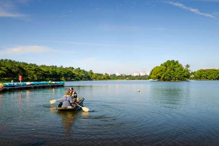 Putrajaya, Malaysia – September 24th, 2017 : Young angler  prepare to go on a fishing in Wetland Putrajaya. Editorial