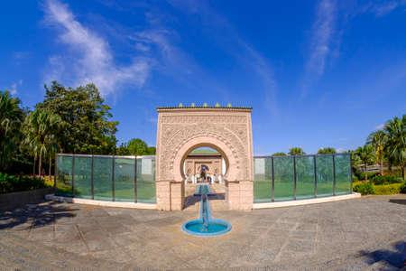 Beautiful scenery of Astaka Morocco or Morocco Pavilion in Putrajaya, Malaysia with blue sky