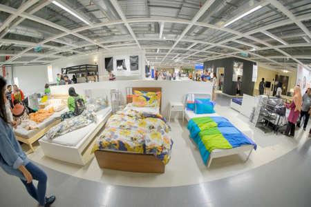 Kuala Lumpur, Malaysia – September 24th,  2017: Ikea store interior in Kuala Lumpur, Malaysia. Interior view of furniture room inside IKEA store. IKEA is the worlds largest furniture retailer.