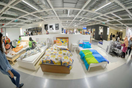 Kuala Lumpur, Malaysia – September 24th,  2017: Ikea store interior in Kuala Lumpur, Malaysia. Interior view of furniture room inside IKEA store. IKEA is the worlds largest furniture retailer.