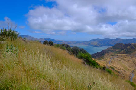 Beautiful scenery from Christchurch Gondola Station at the top of Port Hills, Christchurch, Canterbury, New Zealand.