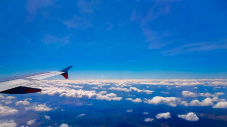 White clouds, view from above air plane window Stock Photo
