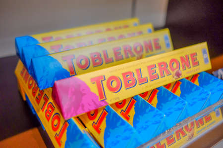 SEPANG , MALAYSIA - NOVEMBER 11st , 2017 :Box of TOBLERONE chocolate display for sale   in Kuala Lumpur International Airport